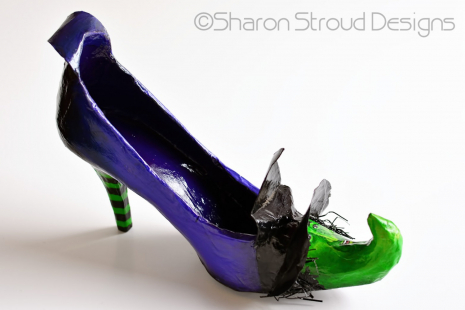 Left  side view of Wicked Witch altered art shoe sculpture