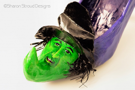 Close-up of Wicked Witch altered art shoe sculpture