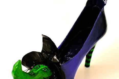 Altered Art witch shoe in a Wizard of Oz style