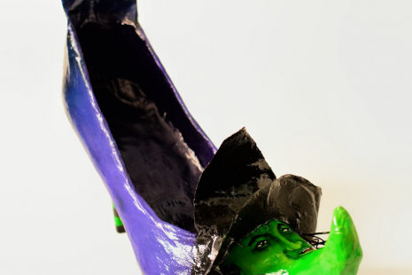 Left front  side view of Wicked Witch altered art shoe sculpture