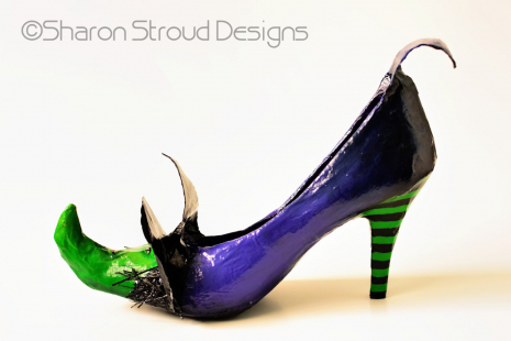 Side view of Wicked Witch altered art shoe sculpture