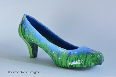 Side view of Tulip Shoe showing wildflowers