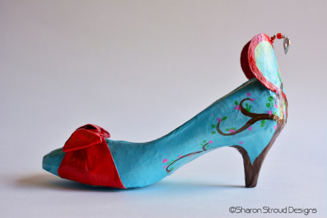 Left side view of Tree of Love altered art shoe sculpture