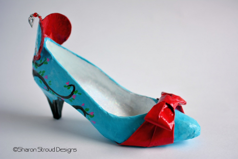 Right side view of Tree of Love altered art shoe sculpture