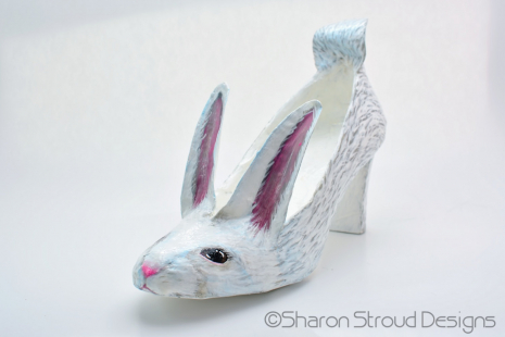 Altered art shoe sculpture - Easter bunny