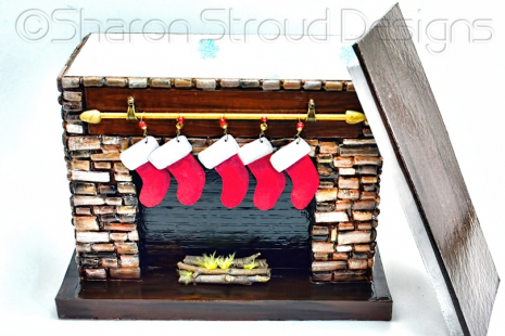 Brown Stone Fireplace Box Open