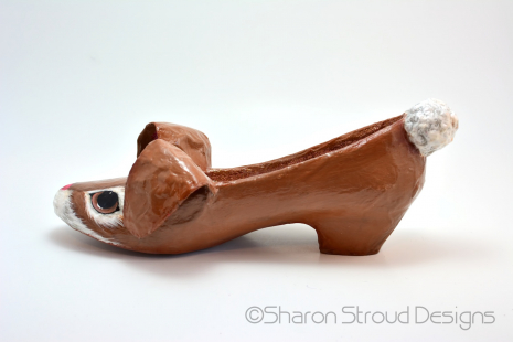 Chocolate Bunny Altered Shoe - Left Side View