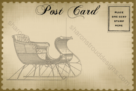 Old Fashioned Sled Postcard