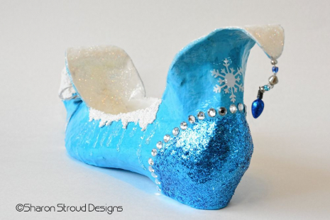 Back Left View of Wintry Snow Elf Shoe