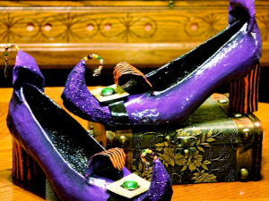 Pair of Witchy altered art shoes