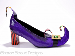 Side view of altered art Witchy Shoe sculpture