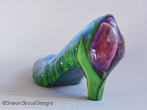 Tulip detail on back of Tulip altered shoe sculpture