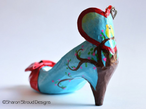 Vintage Valentine altered art shoe sculpture