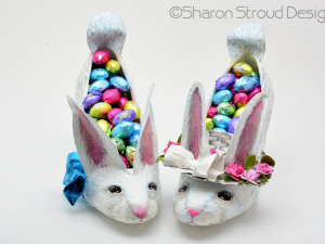 Set of boy and girl Easter bunny altered shoe sculptures