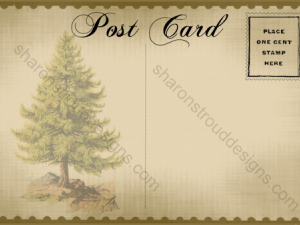 Old fashioned Christmas Postcard - Tree