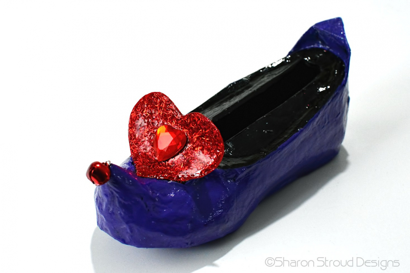 Business card holder for her purple elf shoe with red heart unique business card holder altered art elf shoe colourmoves