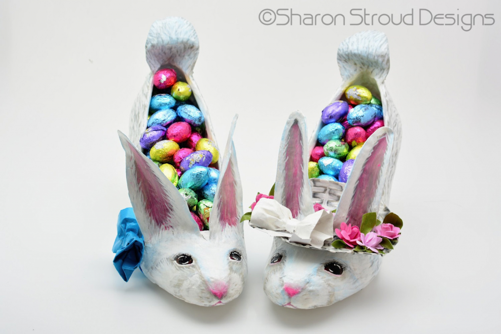 dfd009854a79 Set of boy and girl Easter bunny altered shoe sculptures