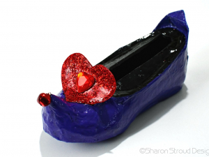 Glitter Heart Elf Shoe Business Card Holder, Custom Designed, One Of A Kind
