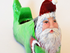 Santa and His Bag Altered Art Elf Shoe Sculpture, Custom Designed, Hand Painted