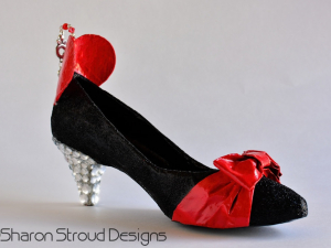 Valentine's Day Key To My Heart Altered Art Shoe, Home Decor, Custom Designed, One Of A Kind