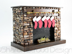Christmas Brown Stone Fireplace Box