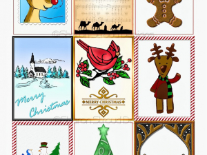 Whimsical Christmas Printable Collage Sheet