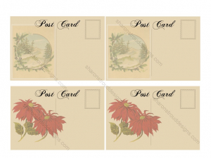 Old Fashioned Printable Christmas Postcards 2 Sheet for Scrapbooking, Mixed Media, Tags, ATCs, etc.