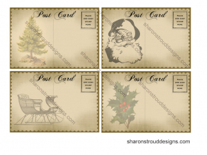 Printable Christmas Postcard Sheet for Scrapbooking, Mixed Media, Tags, ATCs, etc.