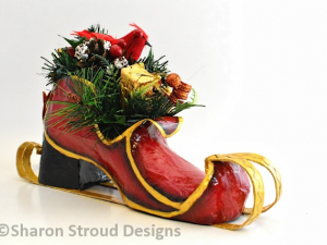 Santa's Monogram Sleigh, Shoe Sculpture, Custom Designed, Hand Painted