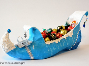 Wintry Snow Elf Shoe Sculpture, Custom Designed, Hand Painted Altered Art Shoe