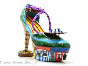Water Park Altered Art Shoe Sculpture, Custom made, Hand painted