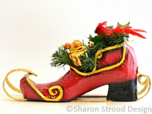 Santa's Whimsical Sleigh Shoe, Altered Art Shoe Sculpture, Custom Designed, Hand Painted